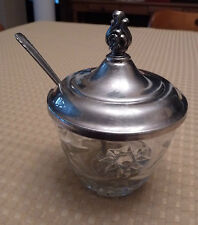 Silverplate and Glass WM ROGERS #830 Jam Jar with Spoon
