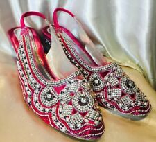 Size 8 9 Ladies Indian Bollywood Shoes Heels Sandals Chappals Pink Silver J6