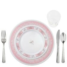 100 Disposable China Look Salad+Dinner Plates+Reflection Cutlery CONCORD PINK