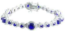 Sterling Silver 925 Womens Synthetic Sapphire Stone Bracelet 9mm Wide
