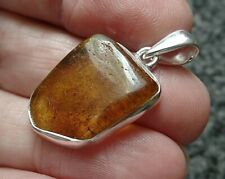Freeform Sterling Silver and Natural Amber Pendant Taurus Birthstone