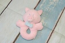 "Applause Pig Pink Terry Cloth Ring Rattle Stuffed Baby Plush Toy 6"" Vintage"