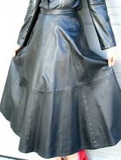 LONG FLARED  BLACK LEATHER  SKIRT - BETTINA fits size 6