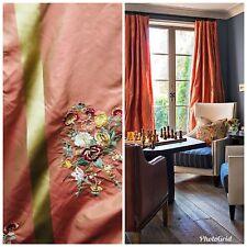 SWATCH- 100% Silk Taffeta Interior Design Fabric Embroidery Iridescent Orange
