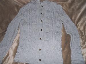 Handarbeit handmade Trachtenjacke Strickjacke Janker Grau Größe S oder Kinder164