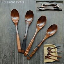 4-Piece Handmade Wooden Soup Spoons Natural Tablewa