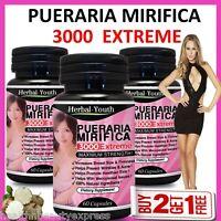 PUERARIA MIRIFICA 3000 EXTREME PURE & NATURAL BUST BREAST ENLARGEMENT CAPSULES