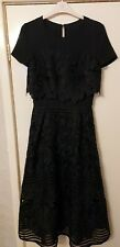 Ted Baker Women's Black Janelle Layered Lace Midi Dress Size 1 UK SIZE 8
