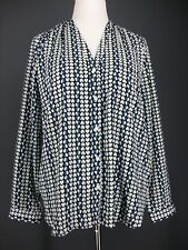 GAP Top XL Womens Blue Black Hearts Valentines Day Microfiber Career Blouse