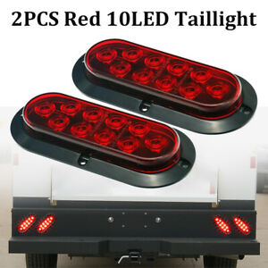 """2x Red 6"""" Oval LED Tail Lights Surface Mount Truck Trailer Stop Brake Turn Light"""