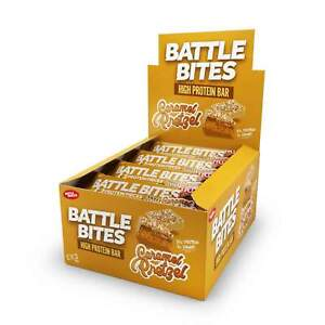 Battle Bites High 20g Protein Bar - Caramel Pretzel Flavour (12 x 62g Bars) Gym