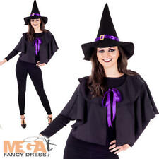Witch Kit Ladies Fancy Dress Witches Cape + Hat Adults Halloweeen Costume Acc