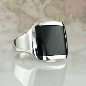 Solid 925 Sterling Silver Men Ring Signet Black Onyx Gemstone Handmade Turkish