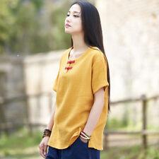 Women Vintage Cotton Linen Shirt Top Summer Short Sleeve Frog Button Blouse