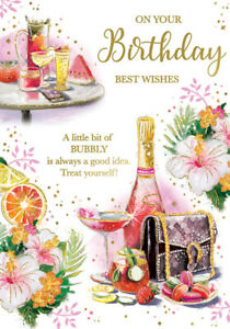 ON Your Birthday Card***Pink Champagne Bottle***. Card For Female