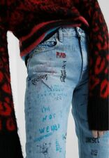 DIESEL women graffiti tattoo straight leg neekhol jeans size 32