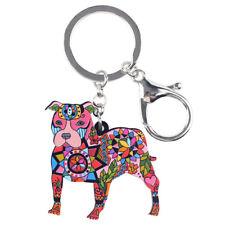 Bonsny Acrylic Pit Bull Terrier Dog Metal Key Chains Rings Women Handbag Jewelry