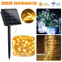 200LED Solar Fairy Waterfall Light Outdoor Copper Wire String Party Garden Decor