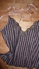 PASSIONATA Retro Cami UK 12 LARGE BLACK PINK Designer Chic Camisole LTD RARE!!!!