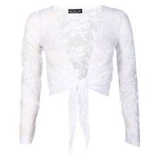 Ladies Floral Lace Sequin Bolero Shrug Women ¾ Sleeve Crop Tie Up Knot Cardigan
