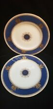 "2 Wedgwood Columbia Cobalt and Gold Hand Painted 10 3/4"" Dinner Plates"