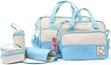 Set 5 Baby Boy Girl Diaper Tote Bag Handbag Pockets Organizer Pad Shoulder Blue