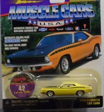Johnny Lightning 1970 Plymouth AAR Cuda Yellow 1/64 Scale DIE-CAST BODY-CHASSIS