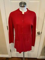 Eileen Fisher Red Button Up Silk Cardigan Sweater Jacket, Size Medium