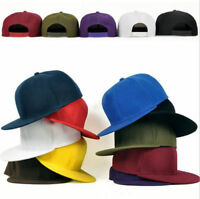 Plain-Flat Bill-Cap-Visor-Baseball-Basic-Blank-Color Visor-Ball-Sport- SnapaBack