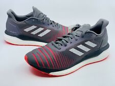 NEW Adidas Men's Boost Solar Drive Gray Shock Red Running Shoes D97450 Size 10.5
