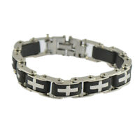 Men Cross Stainless Steel Black Rubber Bracelet Wristband Jewelry Gift