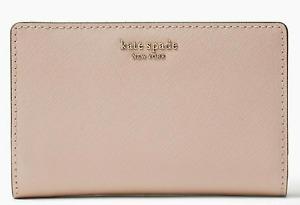 Kate Spade CAMERON MEDIUM BIFOLD WALLET Leather Warmvellum Pink Zip New $149