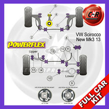 VW Scirocco Mk3 08- Powerflex Complete Bush Kit Front Arm Rear Bushes Adjust