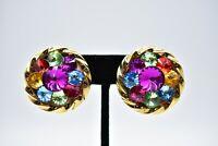 Statement Clip On Earring Jeweled Rainbow Crystal Lightweight Gold Tone BinC