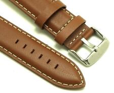 22mm Brown Leather White Stitching Replacement Watch Band - Guess Fossil Watches