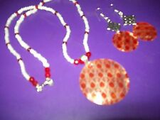 and capizi shell set White cats eye, red crystal