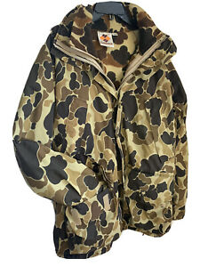 VINTAGE COLUMBIA MENS M DUCK HUNTING JACKET CAMO WITH INSIDE BOMBER COMBO