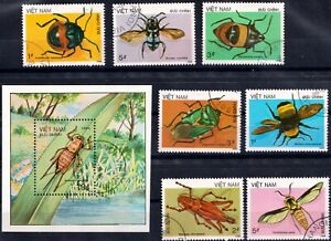 1986 Viet Nam. INSECTS. Sc.1705-1711,1712. CTO