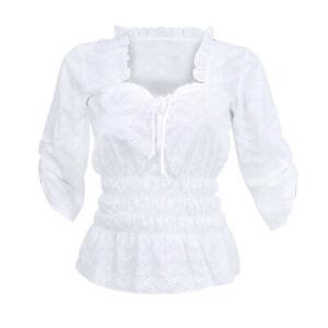 Hemdbluse Bluse Mieder Corsage Damen Trachtenbluse Weiß Lochstickerei Baumwolle