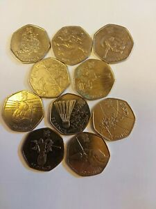 2011 OLYMPIC 50p COINS, JOB LOT X 10, CIRCULATED CONDITION,