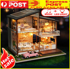 AU DIY LED Music Apartments Dollhouse Miniature Wooden Furniture Kit Doll House