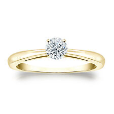 Certified 14k Yellow Gold 4-Prong Round Diamond Solitaire Ring 0.33ct G-H, I2-I3