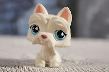 #24 Littlest Pet Shop LPS Scottie Scottish Terrier Puppy Dog White Blue Dot Eyes