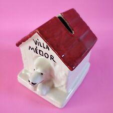 Tirelire ancienne à casser chien Villa Médor céramique vintage antique coin bank
