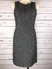 THEORY VIRGIN WOOL/COTTON SLEEVELESS CAREER WORK DRESS BLACK MULTI SZ 4
