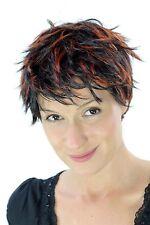 KESSE Kurzhaarperücke schwarz, rote Strähnen Perücke kurz wild kurzes Haar Wig