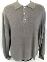 Men's Daniel Cremieux Long Sleeve Polo Wool Sweater Size Medium M Gray