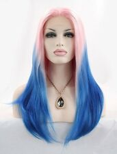 Lady  Cosplay Wig Long Lace Front Wig Straight Pink Blue Mix Synthetic Hair+Cap*