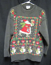 Medium Honors Gray Christmas Sweater Skating Santa Snowmen