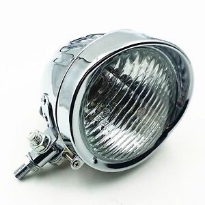 Chrome 60W Motorcycle Headlight Rat Cruiser  Cafe Racer Bobber Old School Custom
